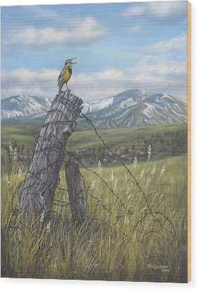Meadowlark Serenade Wood Print by Kim Lockman