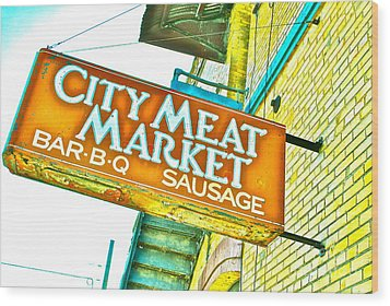 Meat On The Market Wood Print by Chuck Taylor