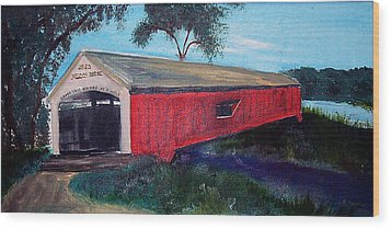 Mecca Covered Bridge Wood Print by Andrea Harston