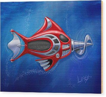 Mechanical Fish 1 Screwy Wood Print by David Kyte