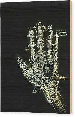Mechanical Hand Wood Print by Ralph Nixon Jr