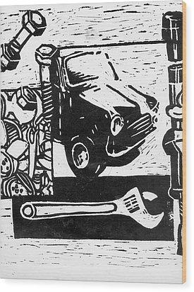 Mechanical Linoprint Wood Print by Tom  Layland