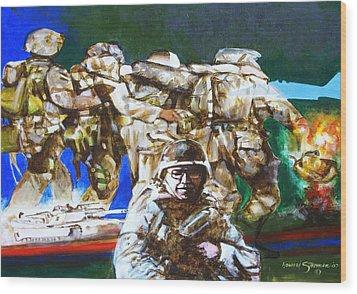 Med Evac Battle For Fallujah Iraq Wood Print by Howard Stroman