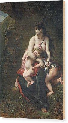 Medea Wood Print by Ferdinand Victor Eugene Delacroix