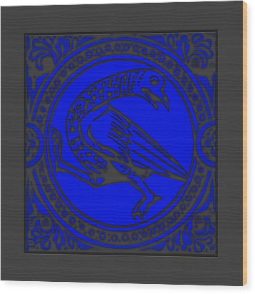 Mediaeval Bird Revision - Blue Wood Print by Li   van Saathoff