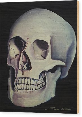 Wood Print featuring the painting Medical Skull  by James Christopher Hill