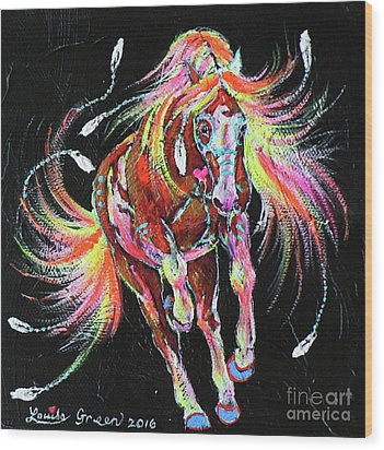 Medicine Fire Pony Wood Print by Louise Green