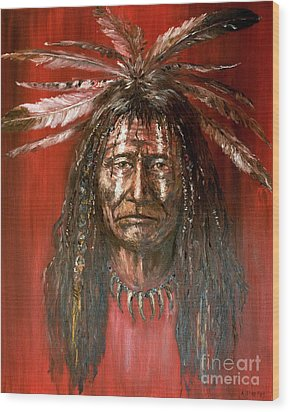 Wood Print featuring the painting Medicine Man by Arturas Slapsys
