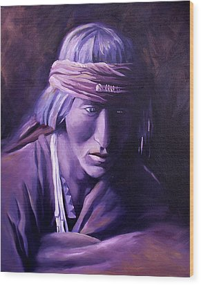 Wood Print featuring the painting Medicine Man by Nancy Griswold