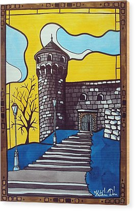 Wood Print featuring the painting Medieval Bastion -  Mace Tower Of Buda Castle Hungary By Dora Hathazi Mendes by Dora Hathazi Mendes