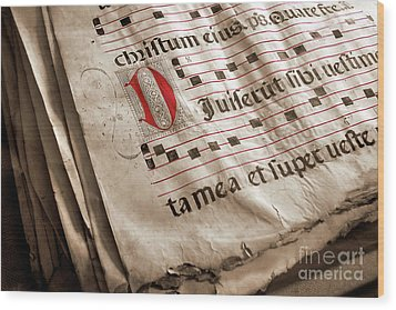 Medieval Choir Book Wood Print