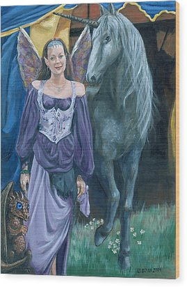 Wood Print featuring the painting Medieval Fantasy by Bryan Bustard