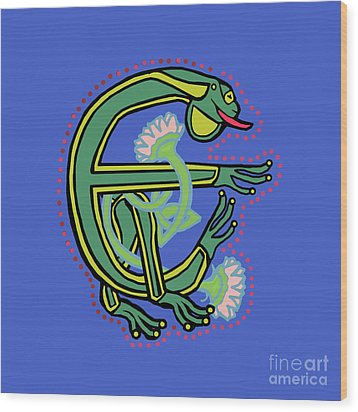 Medieval Frog Letter E Wood Print by Donna Huntriss