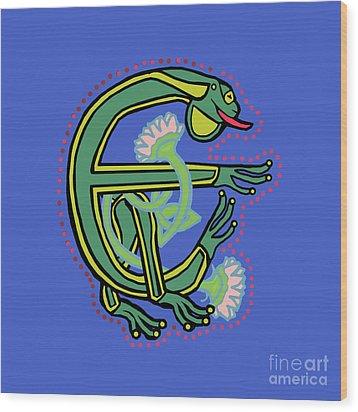 Medieval Frog Letter E Wood Print