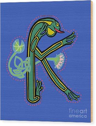 Medieval Frog Letter K Wood Print by Donna Huntriss