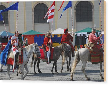 Medieval Knights Parade Wood Print by Adrian Bud