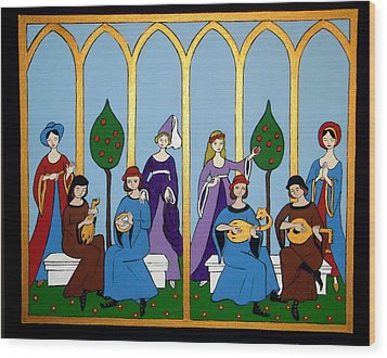 Wood Print featuring the painting Medieval Musicians by Stephanie Moore