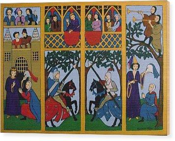 Medieval Scene Wood Print by Stephanie Moore