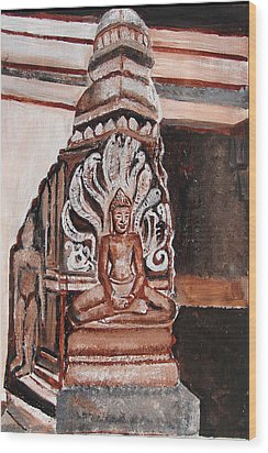 Wood Print featuring the painting Meditating Buddha 10 by Anand Swaroop Manchiraju