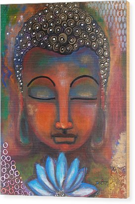 Meditating Buddha With A Blue Lotus Wood Print by Prerna Poojara