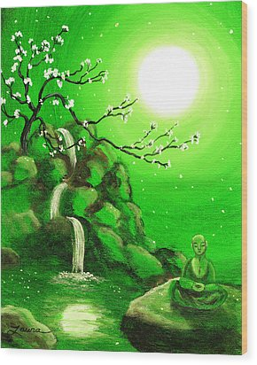 Meditating While Cherry Blossoms Fall In Green Wood Print by Laura Iverson