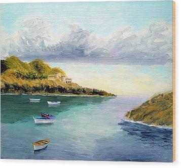 Mediterranean Bay Wood Print