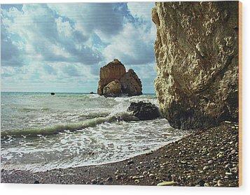 Mediterranean Sea, Pebbles, Large Stones, Sea Foam - The Legendary Birthplace Of Aphrodite Wood Print