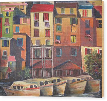 Mediterranean Waterfront Wood Print