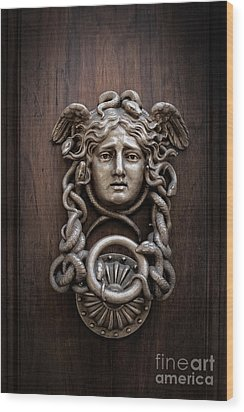 Medusa Head Door Knocker Wood Print by Edward Fielding