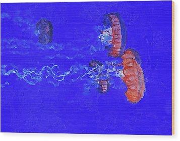 Wood Print featuring the digital art Medusas Jellyfishes by PixBreak Art