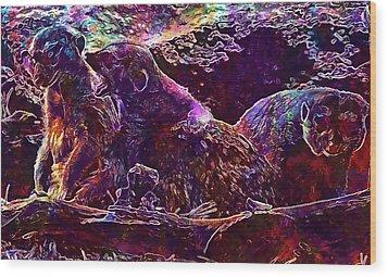 Wood Print featuring the digital art Meerkat Zoo Lazy Nature Animal  by PixBreak Art