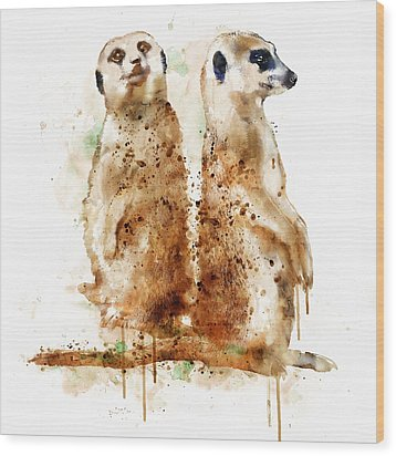 Meerkats Wood Print by Marian Voicu