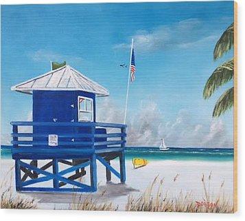 Meet At Blue Lifeguard Wood Print
