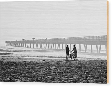 Wood Print featuring the photograph Meet At The Pier by Phyllis Peterson