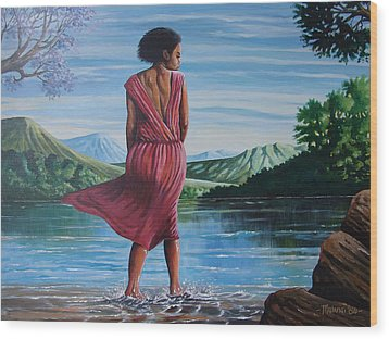 Wood Print featuring the painting Meet Me At The River by Anthony Mwangi