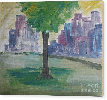 Meet Me By Our Tree In Central Park Wood Print by Julie Lueders