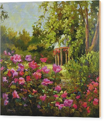 Meet Me In The Garden Wood Print by Chris Brandley