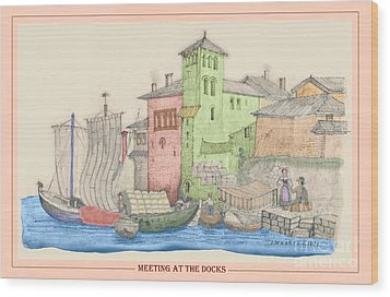 Meeting At The Docks Classic Wood Print by Donna Munro