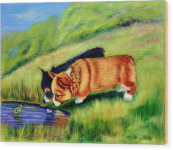 Meeting Mr. Frog Corgi Pups Wood Print by Lyn Cook