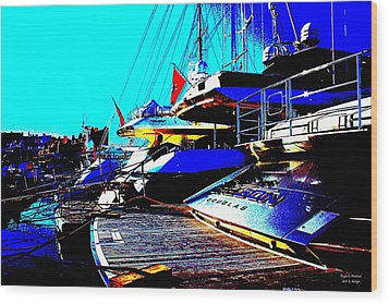 Wood Print featuring the photograph Mega Yachts by Rogerio Mariani