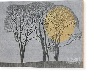 Megamoon Wood Print by Ann Brain