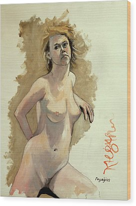 Wood Print featuring the painting Megan by Ray Agius