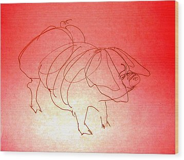 Wood Print featuring the drawing Meishan Sow 3 by Larry Campbell
