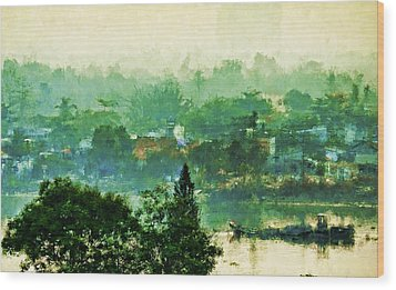 Wood Print featuring the digital art Mekong Morning by Cameron Wood