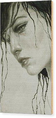 Melancholic Wood Print by Diego Fernandez