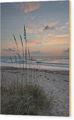 Melbourne Beach Sunrise Wood Print by Cheryl Davis