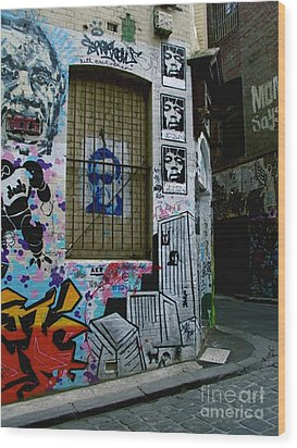 Melbourne Graffiti I Wood Print by Louise Fahy
