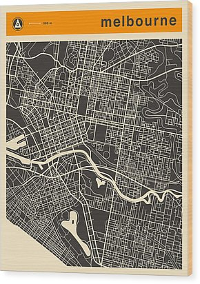 Melbourne Map Wood Print by Jazzberry Blue