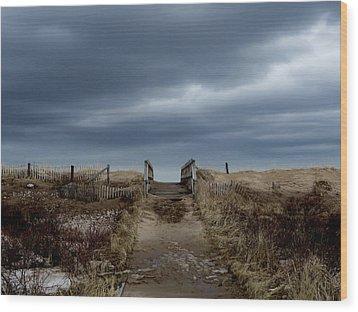 Wood Print featuring the photograph Melmerby Beach Boardwalk by Kathleen Sartoris