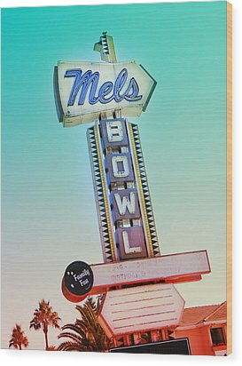 Mels Bowl Retro Sign Wood Print